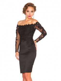 Off the Shoulder Etui-Linie Spitze Stickereien Lange Ärmel Satin Abend Dress