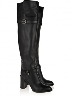 Damen Block absatz Rindleder mit Buckle Knee High Stiefel